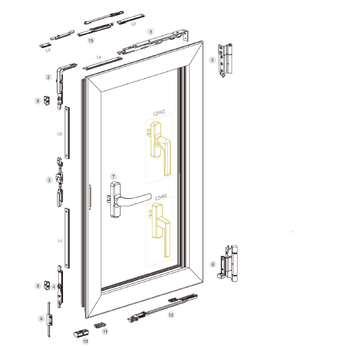 European standard (20mm groove) tilt and turn window hardware system