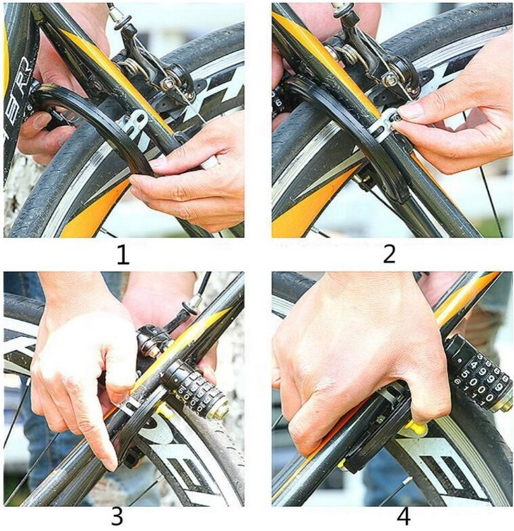 Hitam Disciform Steel 4 Kode Sandi Kombinasi Sepeda Kunci Sepeda