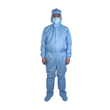 Factory direct sales cleanroom smock antistatic esd reusable coverall workerwear cleanroom suit