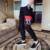 2019 new Hot sale Men Loose Falling feeling Big pocket Harem pants Leisure Side Scratch Slim fit Nine points Cargo pants