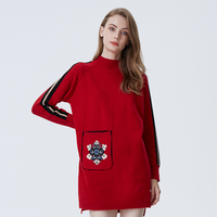 Boyfriend Long Designer Cute Sweater Dress Crew Neck Jacquard Knitted Pullover Sweater