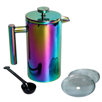 Double wall insulated vacuum stainless steel french press coffee maker