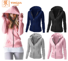 OEM Custom Wholesale Women Hoodies Sweatshirts Autumn Top Quality Zipper Hoodies Long Sleeves Slim Fit Zipper Hoodie