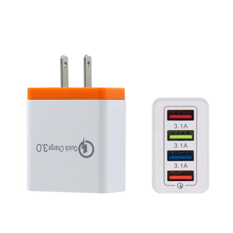 Carregador de Parede USB EUA REINO UNIDO Plug 4 5V 3.1A Porta USB Universal De Viagens Internacionais Adaptador de Carregador para o iphone para para Samsung para Huawei