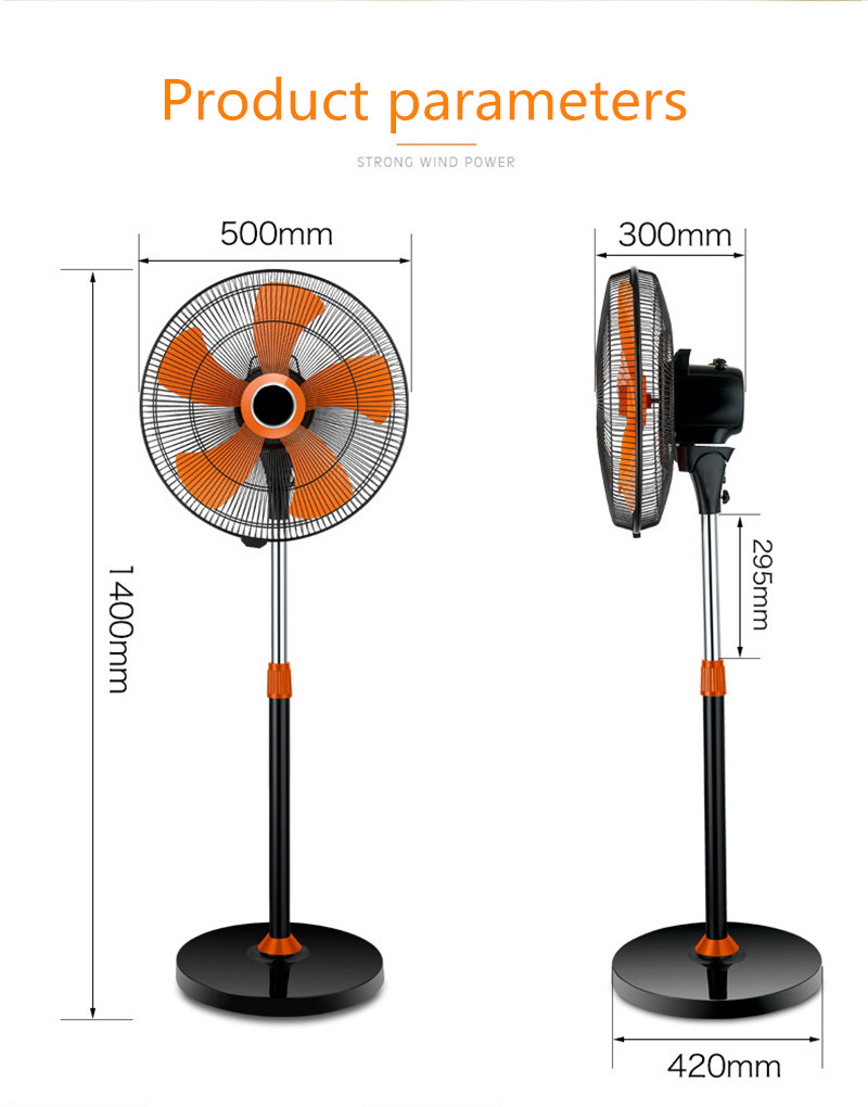 16/20 Inch Big Power Home Appliance Plastic Electric Stand Fan With 5 Blades