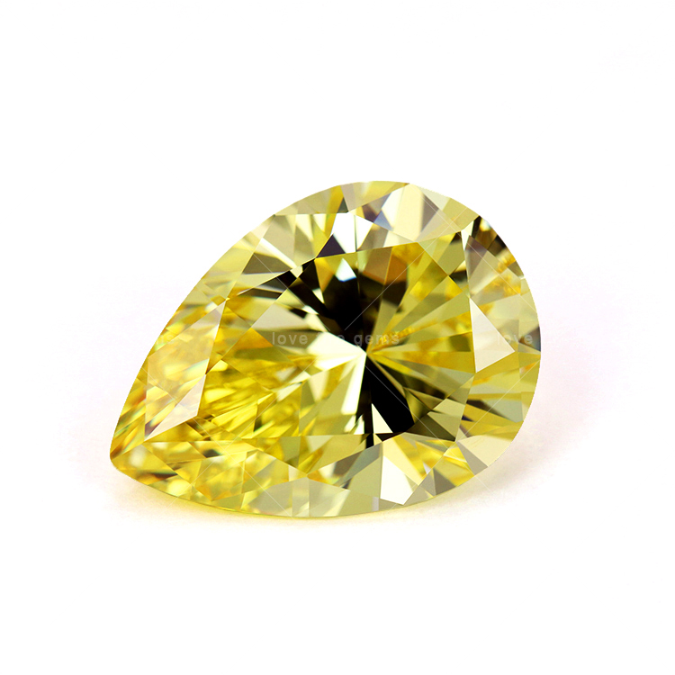 8*10 mm 5A grade loose synthetic gemstone fancy yellow <strong>pear</strong> cut cz stones cubic <strong>zirconia</strong> for jewelry making