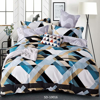 100% Polyester Bedding Set King Queen Double Single Size 4 Pieces Colorful Bed Sheet Set