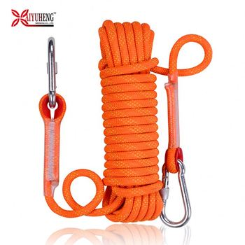 Baiyuheng wholesale 8mm 10mm Static multi function safety rock climbing rope with double hooks