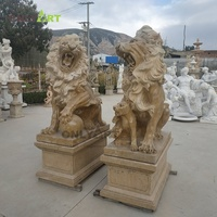 Custom large outdoor decoration life size handcarved animal marble lion statues