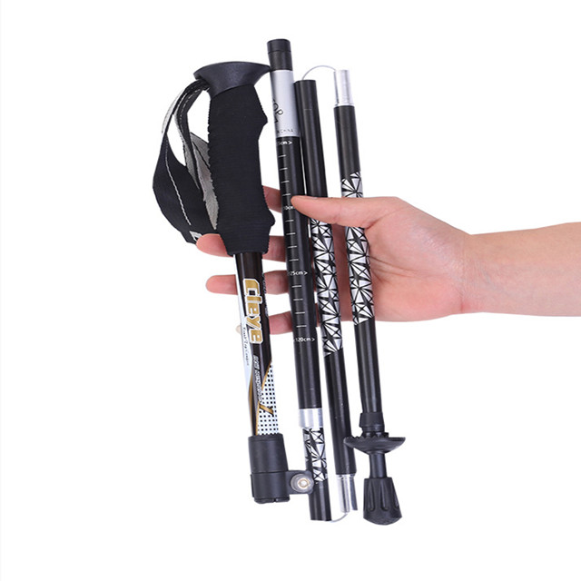 Aluminum alloy walking stick folding staff 5 alpenstock outdoor portable walking stick for men and women