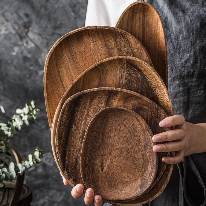 Eco-Friendly Natural Custom Logo Japanese Dinnerware Oval Cooking Wood Plates Serving