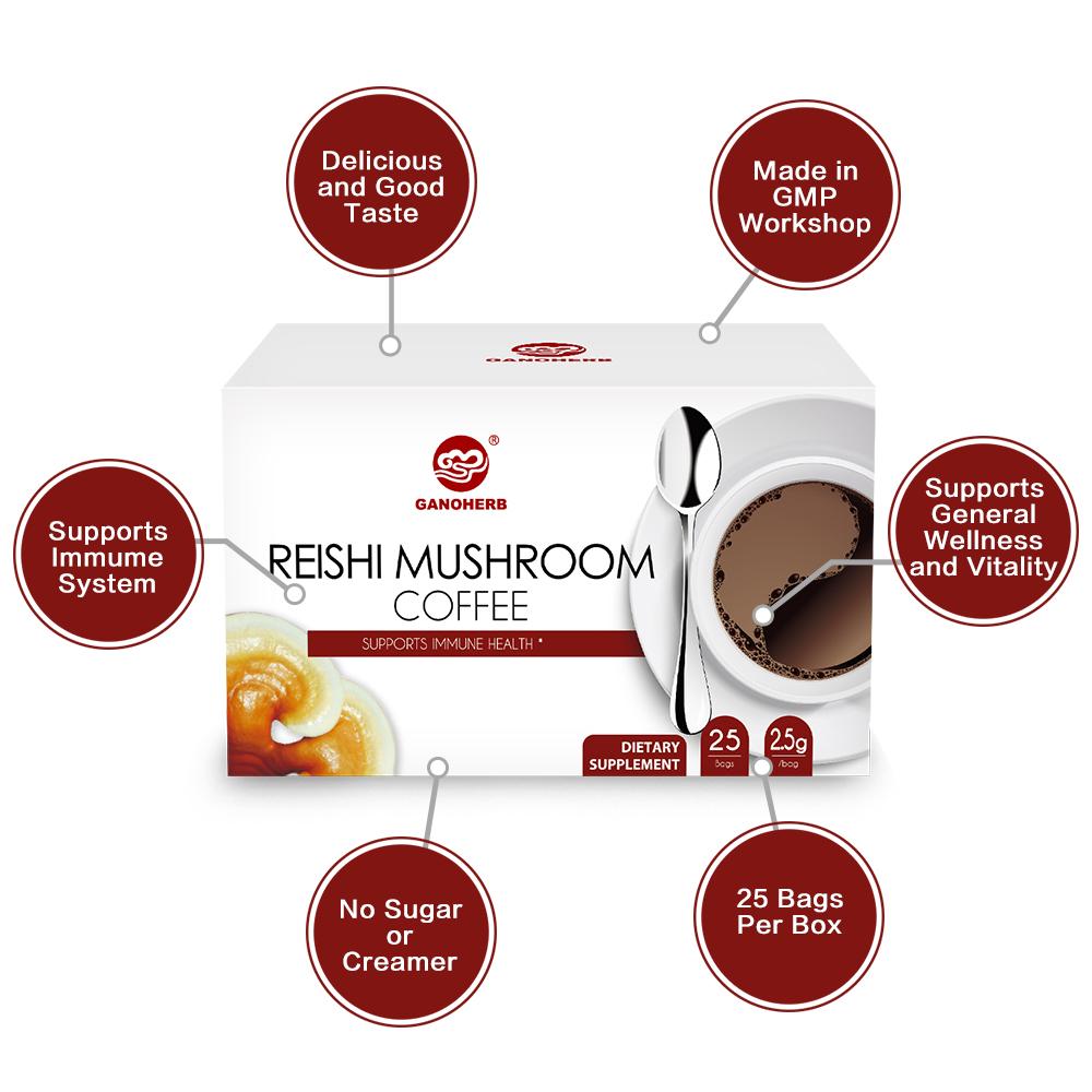 Bulk Ganoderma Lucidum Reishi Mushroom Lingzhi Ling Zhi Powder Instant Black Coffees cocoa mix instant coffee manufacturer