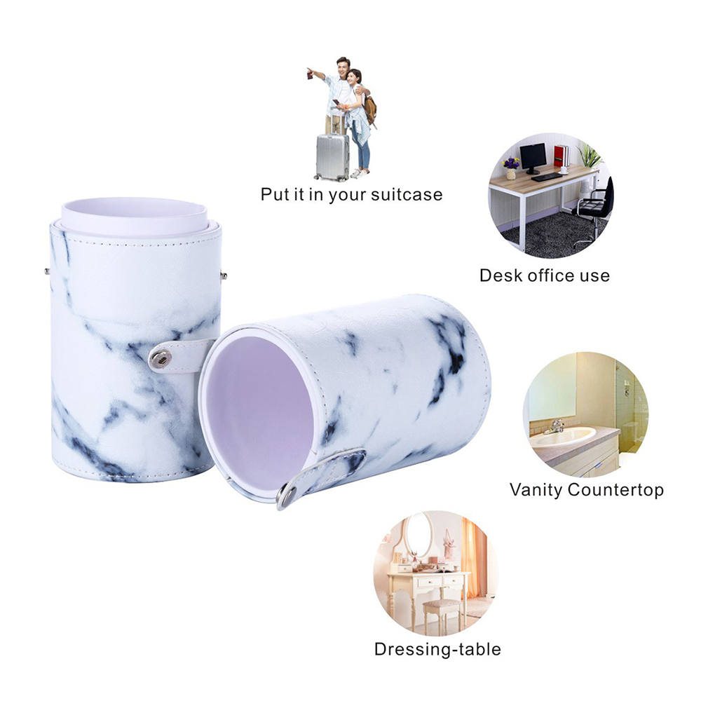 Dustproof large capacity cosmetic accessories portable marble pattern makeup brush leather case