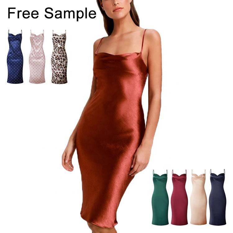 Nouveau produit 2020 cuivre satin col bénitier sans manches midi robe slip pour les femmes