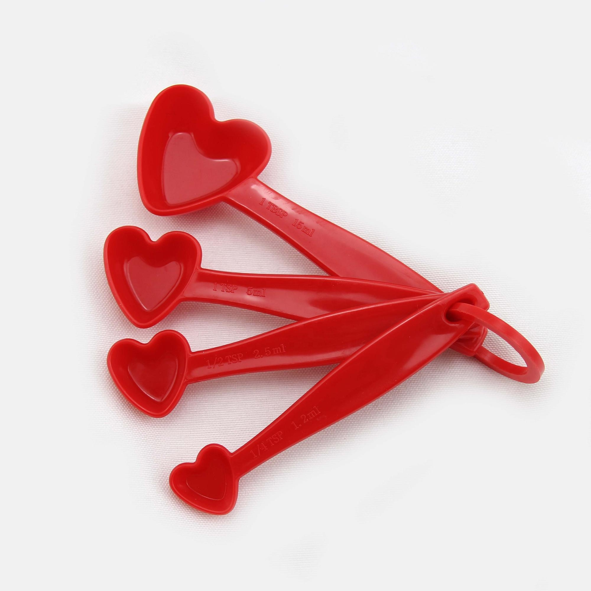 Plastic Heart shape 4 pieces measuring spoon gram measuring spoon