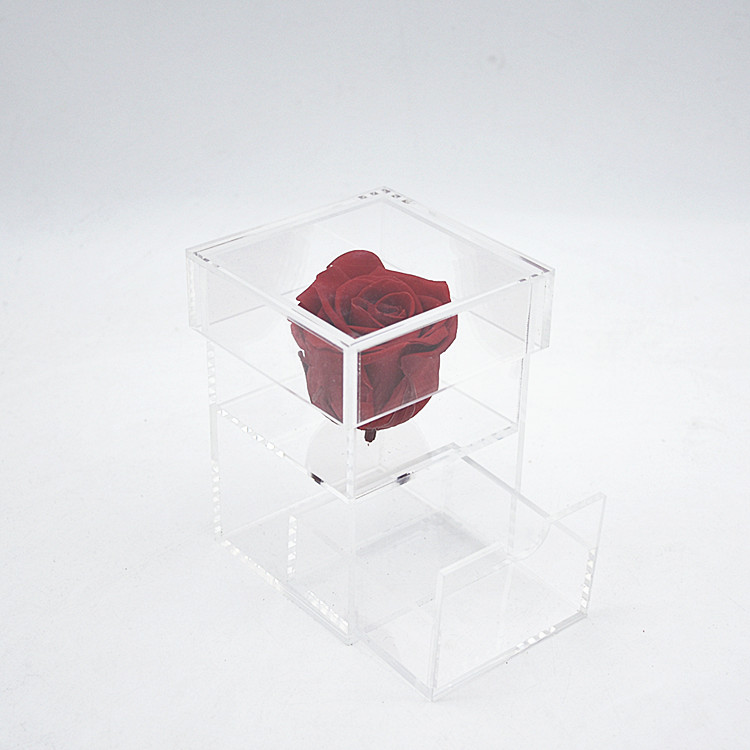 Luxury Single One Hole Square Crystal Clear Waterproof Preserved Flower Display Jewellery Box Acrylic Rose Box with drawer