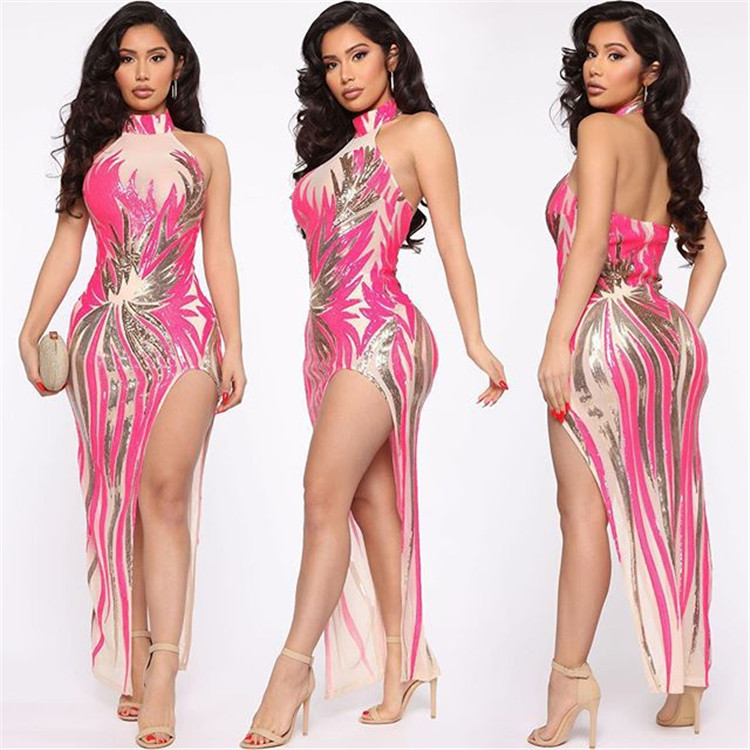 *GC-T119  2020 new fashion halter backless two piece dress set spring women clothing hotsale embroidered night club dress set