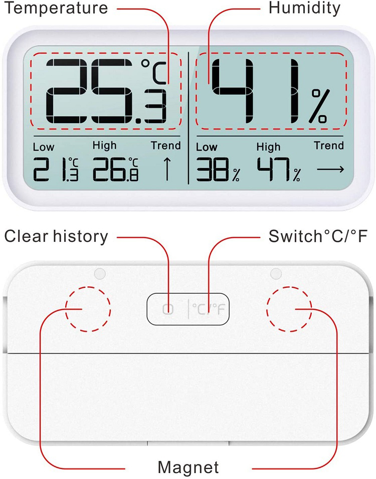 Indoor and outdoor digital hygrometer thermometer
