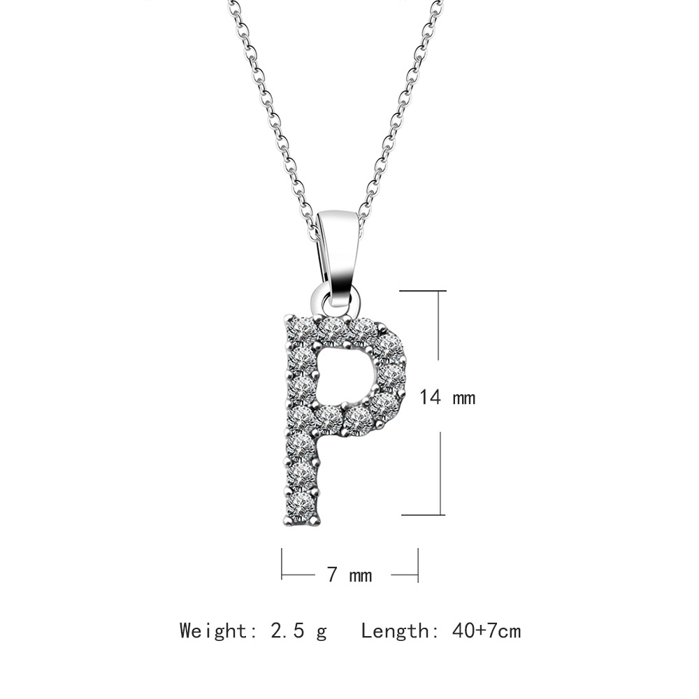 2020 Amazon hot style English alphabet necklace Microset zircon clavicle chain 26 letter silver plated necklace pendant for gift