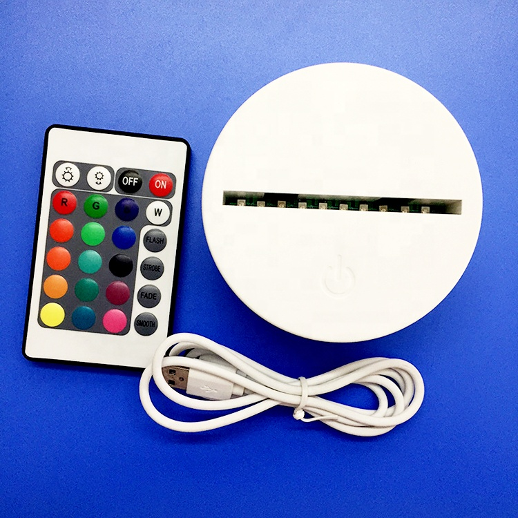 Touch the colorful round base ABS 7 Color Changing Touch Control lame base 3D LED Night Light Base package with 80pcs/ctn