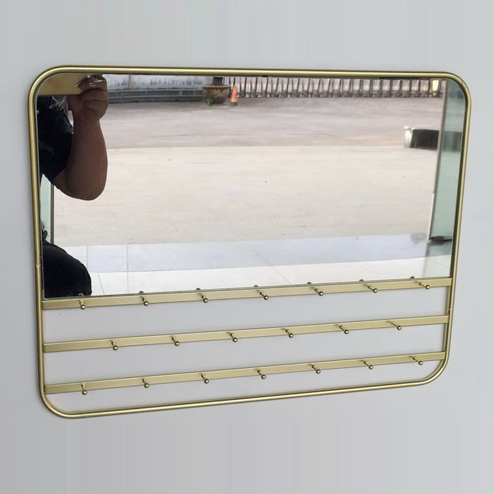 Living room ss decorative furniture anti-fog metal frame wall mirror