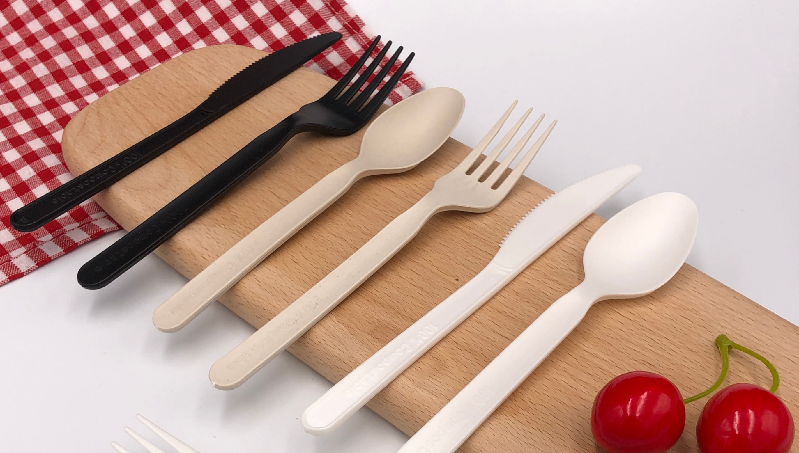 eco friendly recycling luxury knife fork napkin spoon travel set 7'' disposable 100% compostable CPLA biodegradable cutlery