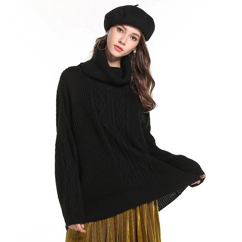 Custom Women sweater turtleneck women high neck sweaters girl knitted pullover loose sweater