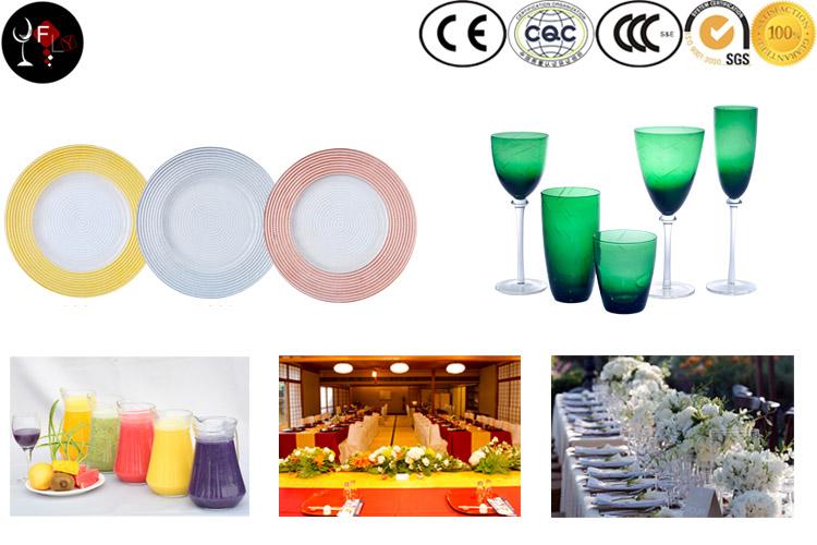 Plaques de chargeur en verre de jante d'or de tournesol de jante d'or pour la décoration de mariage