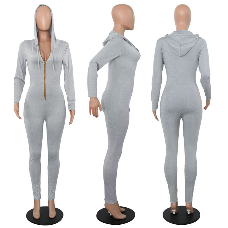 New Arrivals 2020 Zipper Deep V Neck Long Sleeve Solid Bodycon Jumpsuits Romper With Hoodie Clubwear Women