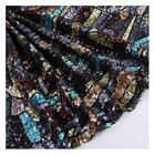 Custom High Fashion Embroidery Multicolor Geometric Lattice Sequin Embroidery Fabric 2020
