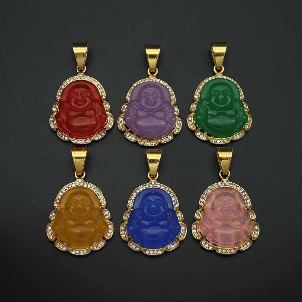 wholesale stainless steel natural jade buddha pendant necklace china