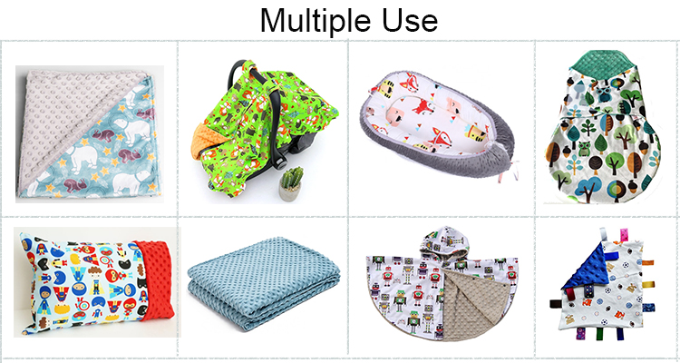 Home Textile Eco Friendly Cuddle Cartoon Digital Printing Minky Velour Fabric for baby products