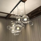 Modern decorative metal kitchen island vintage chandelier hanging light glass bulb bowl shade pendant lamp