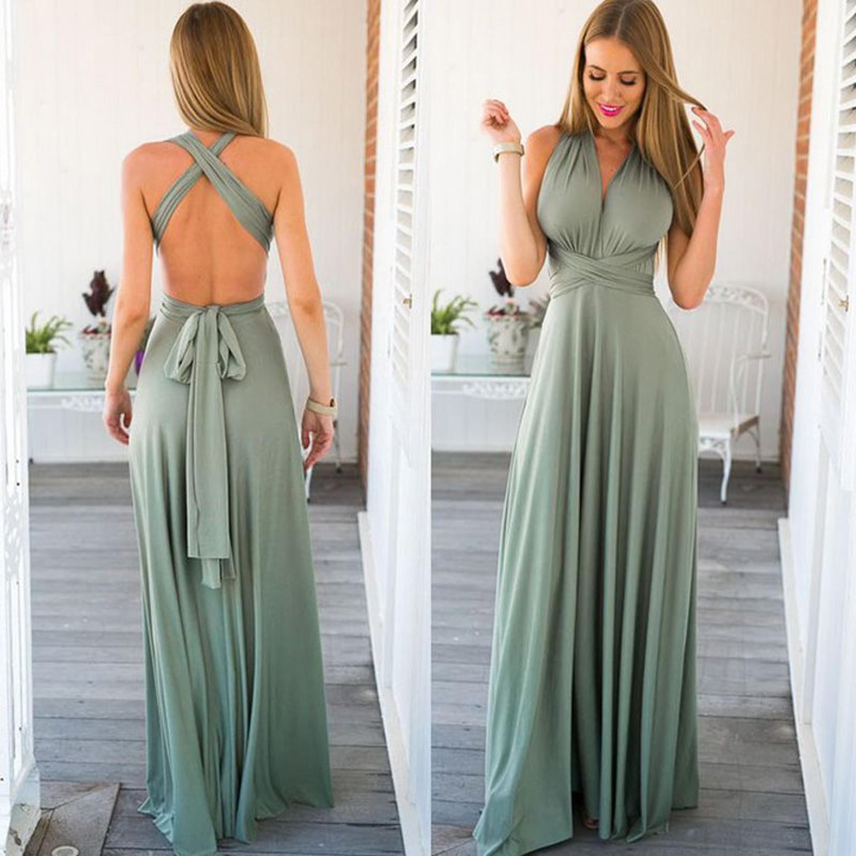 2020 New Designed Sleeveless Deep-v Neck Sexy Womens Party Evening Weddings Long Bridesmaid Dresses