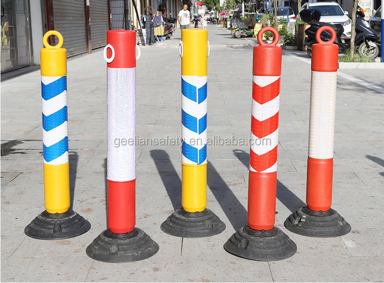 High resilience PU post  Traffic Delineator Warning Post traffic safety posts Flexible PU Warning Post Red Color Bollard