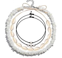 Summer choker jewelry beach white puka sea cowrie shell necklace