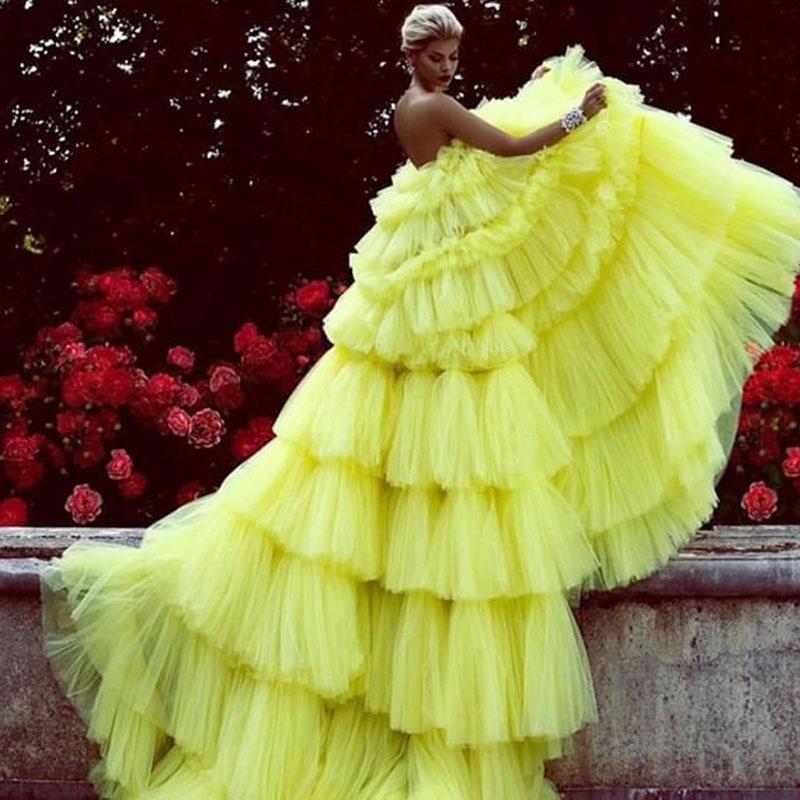 Сексуальные платья с открытыми плечами, желтое фатиновое платье для выпускного вечера 2020, Многоярусное длинное вечернее платье с шлейфом, ...(Китай)