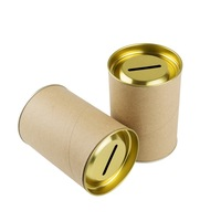 money bank tin can blank piggy bank with money food grade kraft paper cylinder tin lid