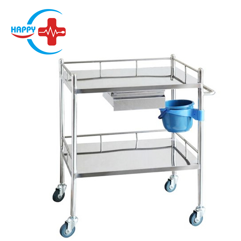 HC-M029 medical movable emergency Stainless Steel Treatment carts /medical trolley Multipurpose Cart