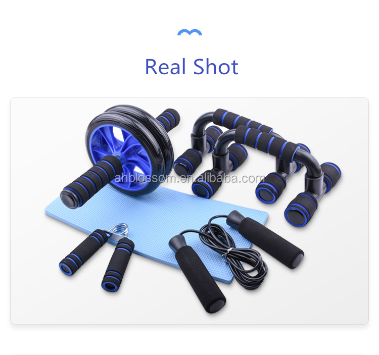 5 Piece Fitness Exercise Set Abdominal Wheel Hand Gripper Jump Rope Roller Push-Up Bar Knee Pad For Home Gym And Indoor