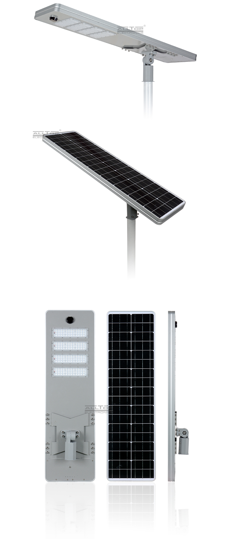 ALLTOP High quality outdoor courtyard lighting ip65 smd 50w 100w 150w 200w integrated all in one led solar street light