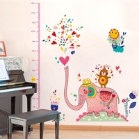 SK9036 Child Cute Elephant Wall Sticker Kids Height Growth Chart For Kids Room Decor