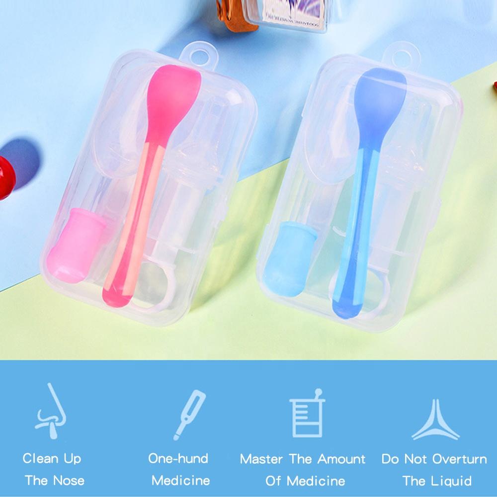 5PCS Silicone Medicine Feeding Dropper Medicine Feeder Temperature Spoon Thumb Toothbrush Nose Clip Dropper Baby Feeder Sets