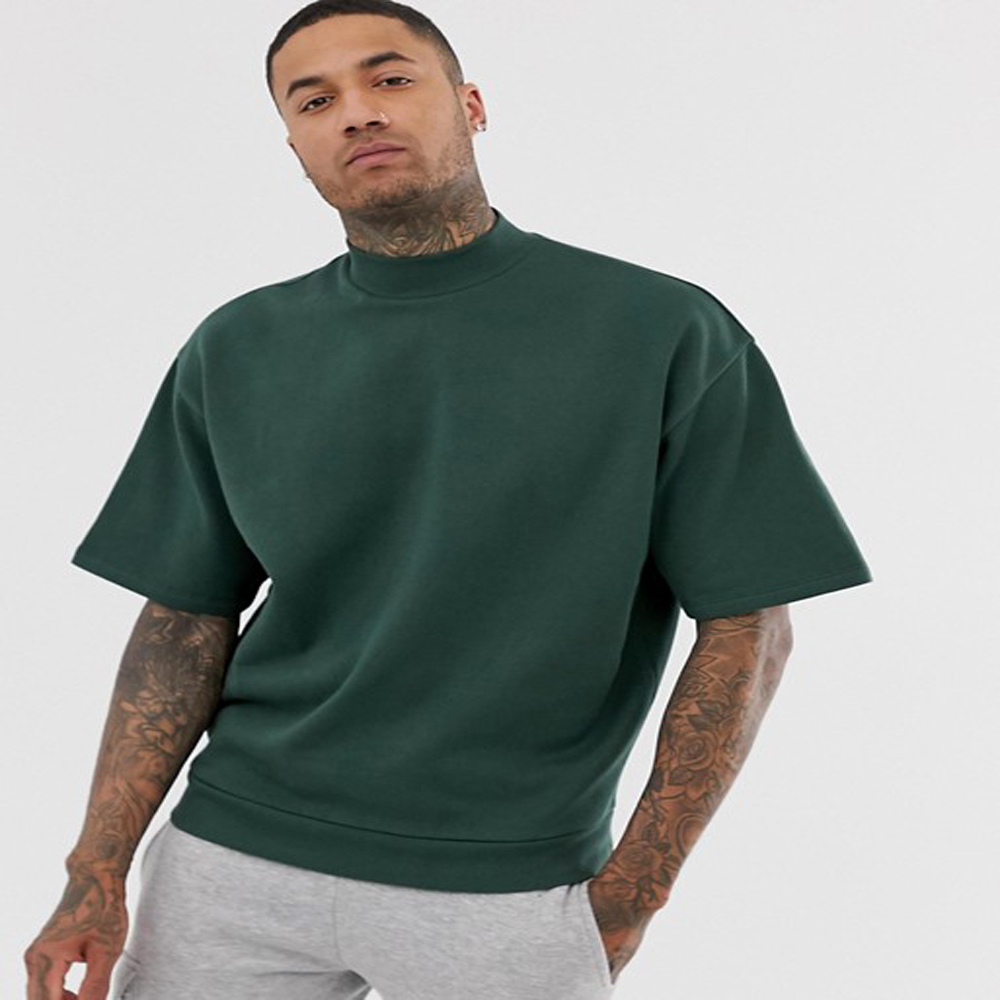 OEM Service Mannen Oversized Army Green Turtle Neck Dropped Schouder Mouwen Custom T-Shirt