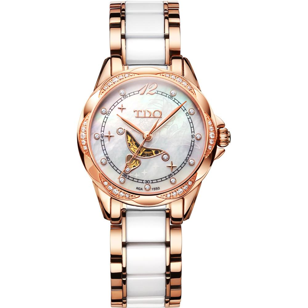 High quality rhinestone <strong>case</strong> mechanical ladies watches white <strong>ceramic</strong> women watches stainless steel automatic watch