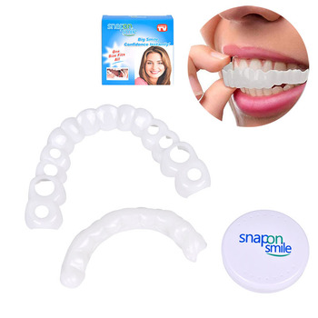 Upper and lower False teeth cover Perfect Smile Veneers Comfort Fit Flex Denture Paste fake braces for Double row of teeth