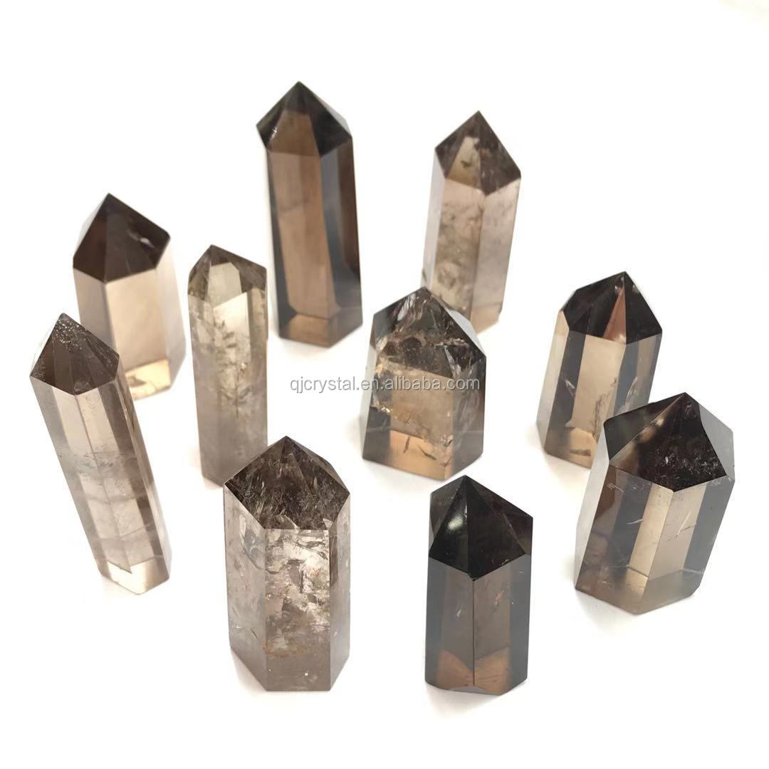 Wholesale Natural Clear Smokey Quartz Wand Point Crystal Healing Stone