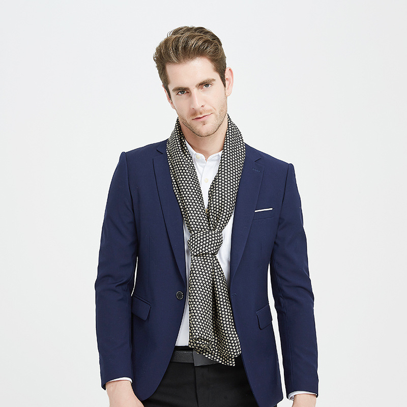 Business high-end scarf gifts European and American brand double-sided scarf New silk long men's scarf in winter 2019