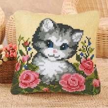 Ковровые Наборы для вышивания кошек и собак, наборы крючков для рукоделия, необработанный ковер для вязания крючком, коврик для подушки, сде...(Китай)