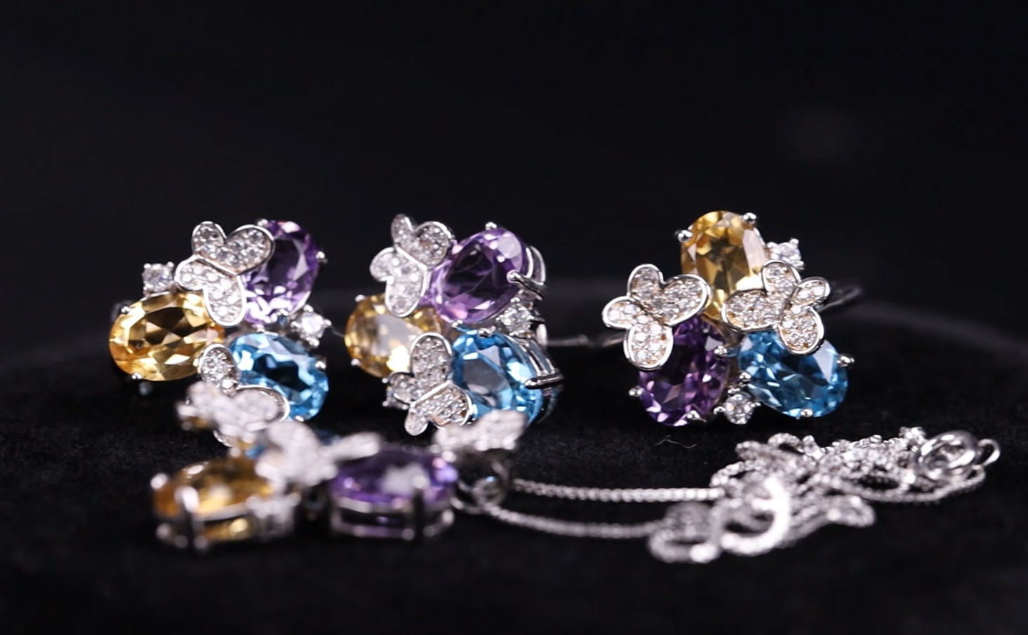 product-BEYALY-Fashion Three Color Big Stone Flower Butterfly Bridal Jewelry Set-img